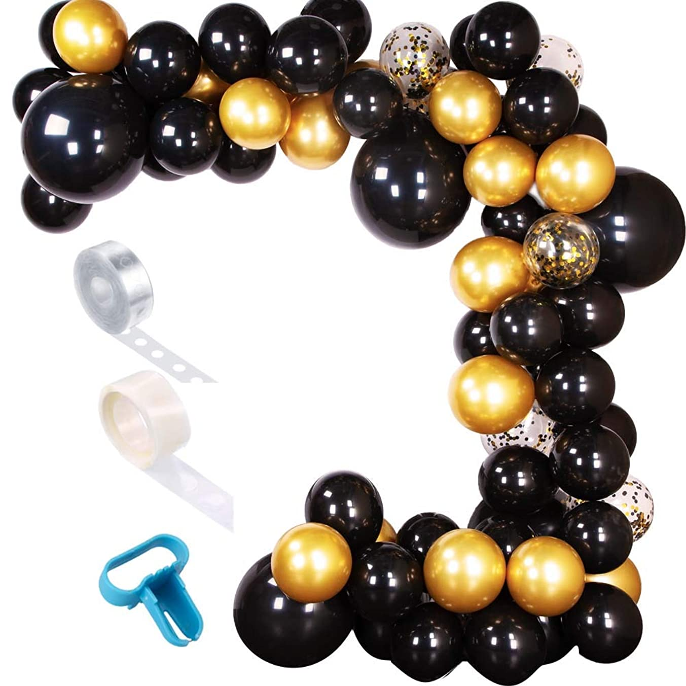 Aimto DIY Balloon Garland Kit Arch Garland Kit for Black and Gold Party Decorations (Black & Gold)