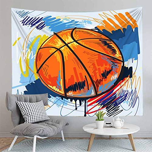 PPOU Impresión 3D niño Baloncesto Tapiz Colgante de Pared Arte de la Pared decoración del hogar Tapiz de Tela de Fondo Manta de Playa A2 180x200cm