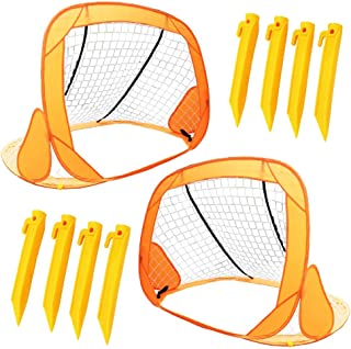 Boley Small Soccer Goal Set - 2 Pack 31 in Portable Pop Up Mini Soccer Net for Backyard Sports Games, Exercise, and Play -...