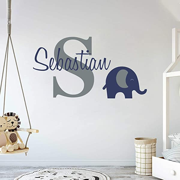 Personalized Name Elephant Animal Series Baby Boy Wall Decal Nursery For Home Bedroom Children Wide 22 X12 Height