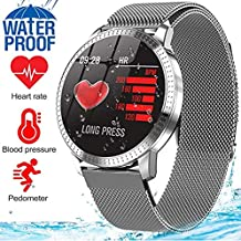 MyTECH Smart Watch Sport Activity Fitness Tracker with Heart Rate Blood Pressure Sleep Monitor Pedometer Waterproof Wrist Watch Wristband Birthday Gifts for Men Women (Silver Steel)