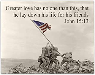 Greater Love - Raising the Flag on Iwo Jima - 11x14 Unframed Art Print - Perfect Gift for Military Families and Patriotic Americans That Still Believe in Our Country, Also Makes a Great Gift Under $15