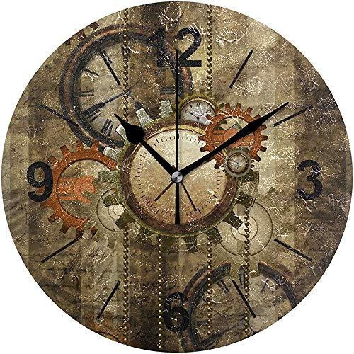 L.Fenn Wandklok ronde tijd klokken en tandwielen diameter Silent Decoratief voor thuiskantoor keuken slaapkamer