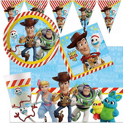 Procos – Kinderpartyset Disney Toy Story 4, Teller, Becher, Servietten, Tischdecke, Flaggengirlande, Tischdeko, Kindergeburtstag, Grillparty, Motto Party