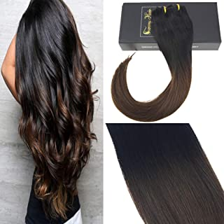 Sunny Clip in Extensions 24 inch Clip in Remy Human Hair Ombre Clip on Natural Black to Dark Brown Ombre Clip in Real Hair Extensions Double Weft 7pcs 120g