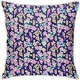Hibiscus Ukulele Kitsch Hawaii Summer Funda de Almohada Decorativa Suave Funda de cojín Cuadrado Suave para sofá Dormitorio Coche 18 X 18 Pulgadas