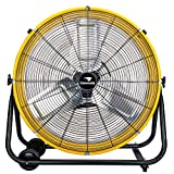 Tornado 24 Inch Grade UL Safety Listed High Velocity Movement Heavy Duty Drum 3 Speed Air Circulator Fan 7800 CFM-Industrial, Commercial, Residential, and Greenhouse Use, Yellow