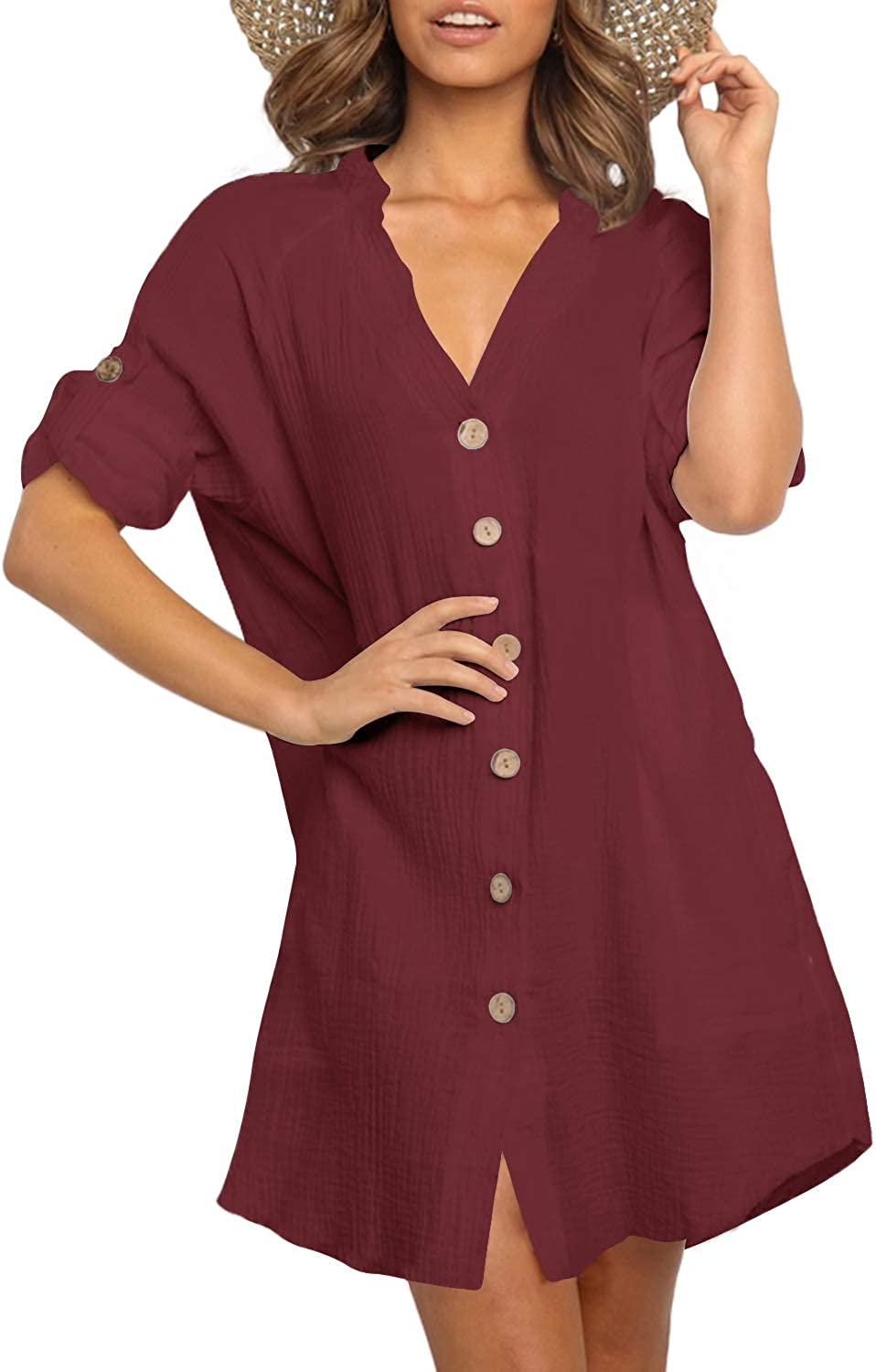 YOINS Womens Shirt Dresses Short Sleeves V Neck Button Down Blouse Casual Tunic Tops