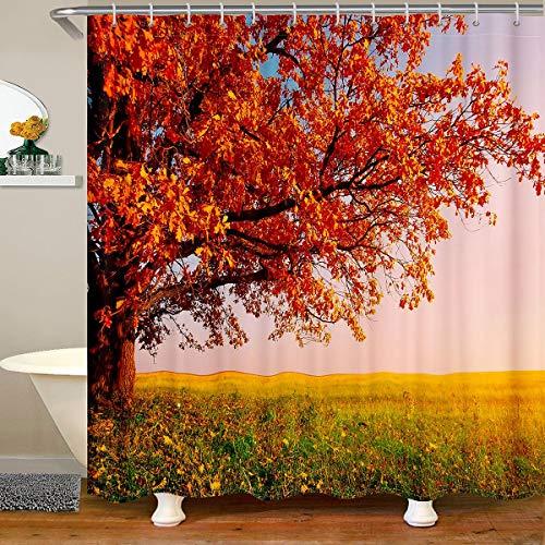 Loussiesd Cortina de ducha de tela con estampado de árbol, cortina de ducha de paisajes naturales, cortina de baño para niños, hojas impermeables, 180 x 200 cm