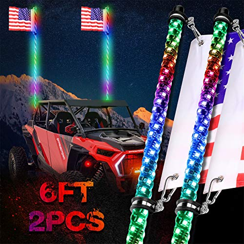 OFFROADTOWN LED Whip Lights, 2PCS 6FT RF Remote Control Spiral Lighted Whips RGB Dancing/Chasing Light Antenna LED Whips for UTV ATV RZR Off-Road Trucks Jeep 4X4 Buggy Dune