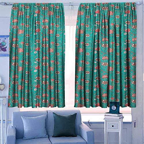 Rod Pocket Gordijnen voor kamer donkere panelen voor woonkamer slaapkamer Tea Party Thee en Cookie Thema Polka gestippelde theekopjes en hart gevormde snoepjes Romantische Break Multi kleuren