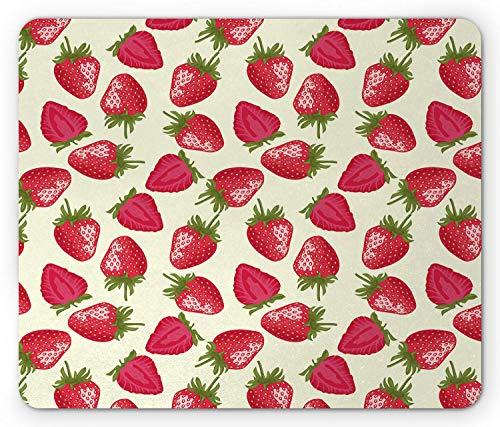 Mouse Pad Mat Fruits Mouse Pad, Strawberries Vivid Growth Plant Vitamin Organic Diet Refreshing Image Mousepad 25 X 30CM