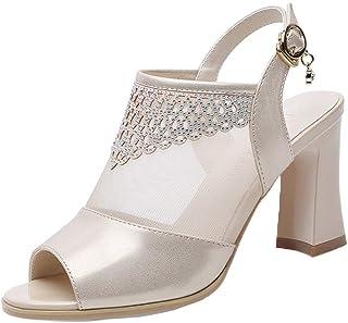 Women Summer Casual Peep Toe Heeled Sandals Mesh See Through Ankle Buckle Strap Slingback High Block Heel Pumps by RJDJ