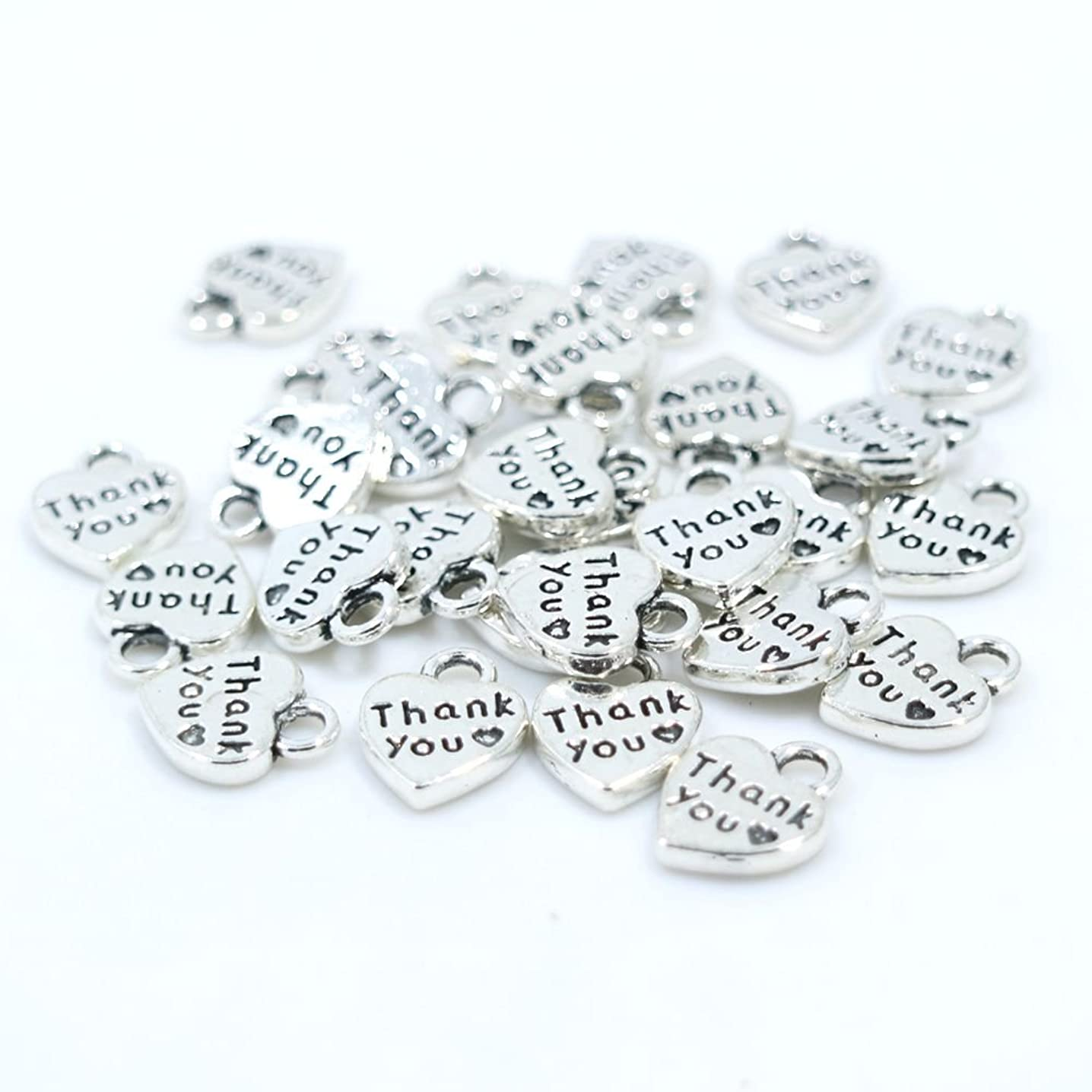 lisafinding 100pcs Vintage Silver Thank You Heart Shape Charms Pendant, DIY Crafts, Jewelry Making Charms Pendant (Antiqued Silver)