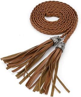 uxcell UxcellWomen's Fashion Tassel Thin Braided Belt Waist Chain Band