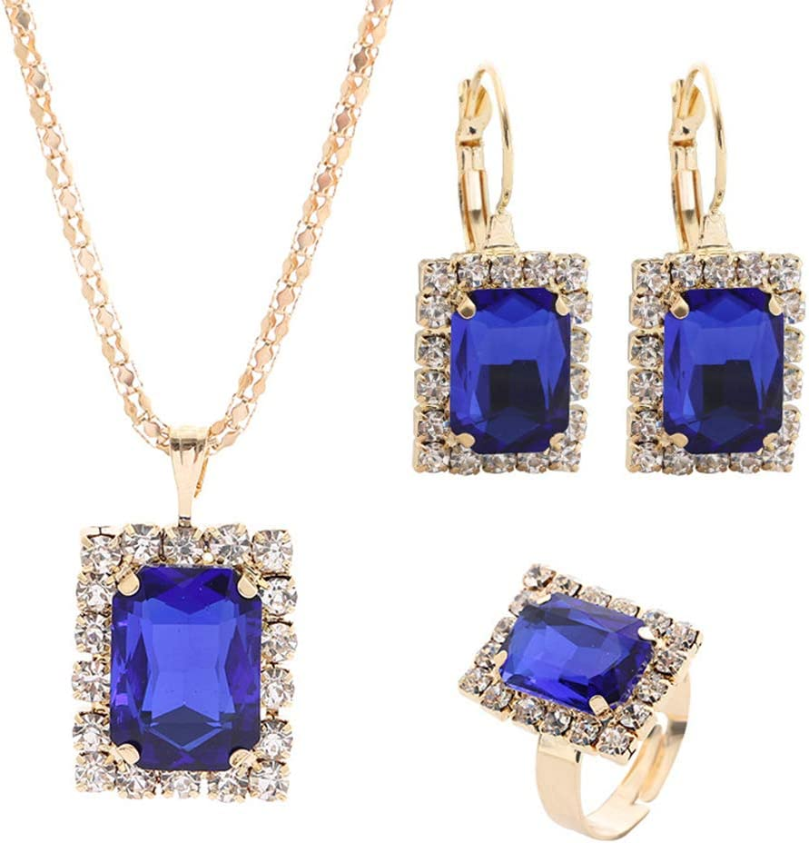 GloryMM Imitation Crystal Luxury Necklace Earrings All stores are sold Vintage Set Ring Pen