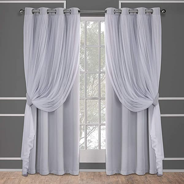 Exclusive Home Curtains Catarina Layered Solid Blackout And Sheer Window Curtain Panel Pair With Grommet Top 52x96 Cloud Grey 2 Piece