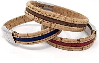 Set of 3 - Red, Blue, and Brown Natural Cork Aromatherapy Diffuser Bracelet with Magnetic Clasp by Simply Cork