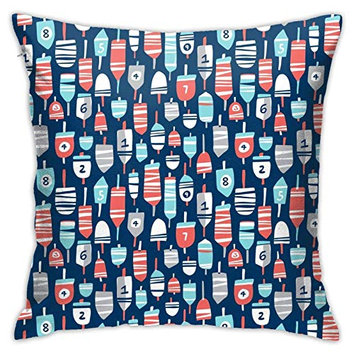 xiancheng Pillow Cover,Ahoy Matey Summer Nautical Smaller Scale Throw Pillow Case Modern Cushion Cover Square Pilloase Decoration for Sofa Bed Chair Car 18 X 18 Inch
