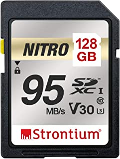 Strontium SRN128GSDU3QR Nitro SDXC 95MB/s UHS-I U3 V30 Class 10 Flash Memory Card for Camera, 128GB