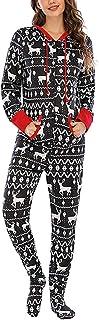 Family Christmas Pijamas a Juego de algodón de Manga Larga con Capucha Onesies Xmas One Piece Homewear