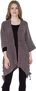 Janice Apparel Women's Winter Warm Fashion Open Front Ruana Knit Vest Wide Solid Chenille Poncho Sweater Tied Side