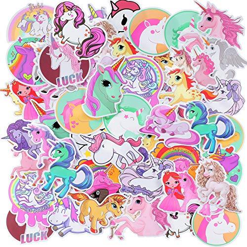 60 Pieces Cute Unicorn Stickers Waterproof Vinyl Unicorn Sticker for Water Bottle Cartoon Graffiti Unicorn Sticker Pack for Car Motorbike Bike Skateboard Luggage, Girls DIY Decoration Party Favors