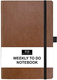 RICCO BELLO Hardcover Weekly to Do Calendar Checklist Notebook, Fountain Pen Friendly, Vegan Leather, Pen Loop, Ribbon Bookmark, Storage Pocket, 120gsm Thick Paper (Brown)