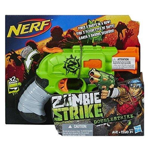 Nerf Zombie Strike Doublestrike Blaster - Armas de Juguete (8 Año(s), Masculino, Verde, Gris, Naranja)