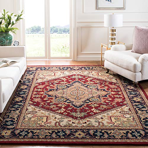 Safavieh Heritage Collection HG625A Handcrafted Traditional Oriental Heriz Medallion Red Wool Area...