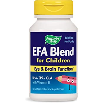 Nature's Way EFA Blend for Children Eye & Brain Function DHA / EPA with Vitamin E, 120 Softgels