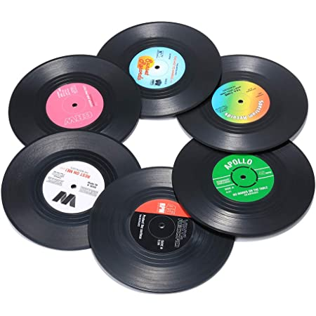 Record Coasters for Drinks, Funny, Absorbent, Novelty 6 Pieces Vinyl Disk Coasters, Effective Protection of The Desktop to Prevent Damage- 4.1 Inch Size by ZAYAD