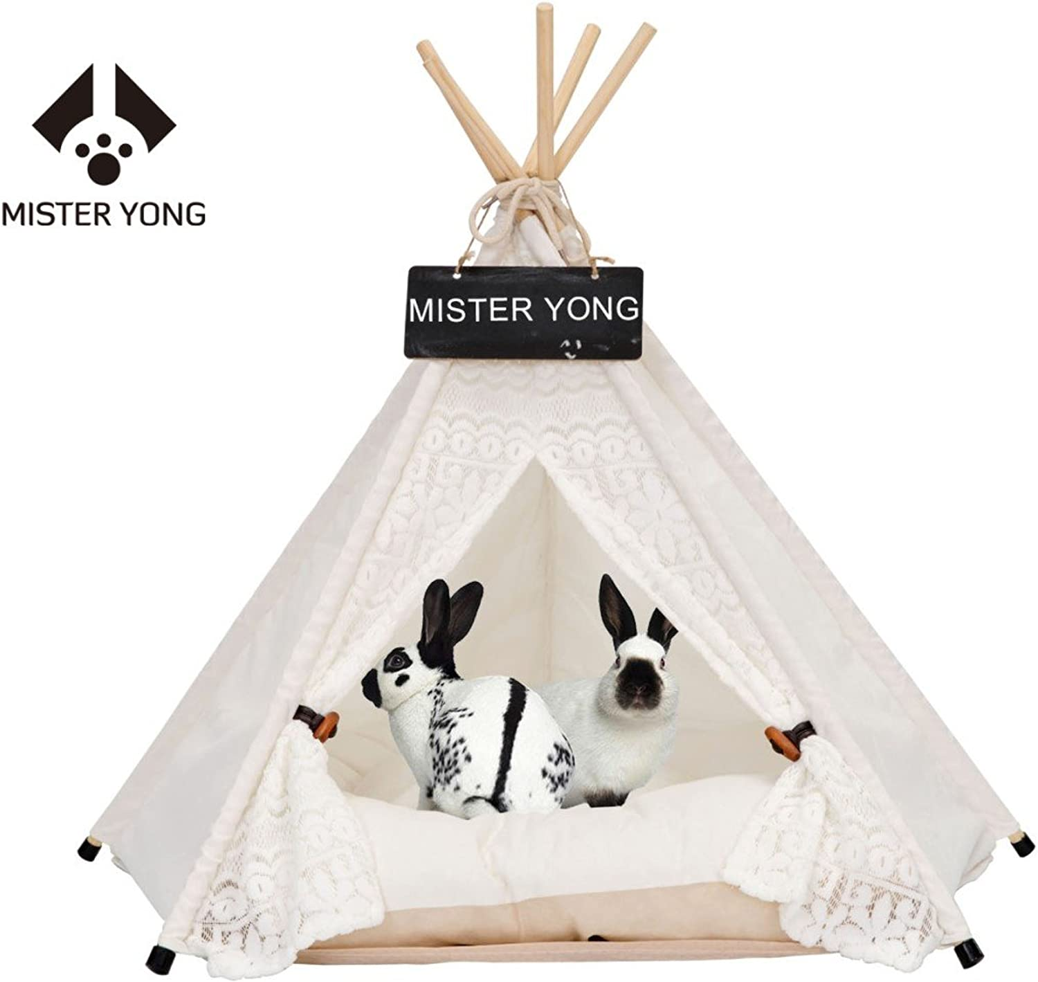 Pet Tents Teepee Tents for Dog and Cat, Portable Teepee Tents House Bed for Pets, Beige (L)