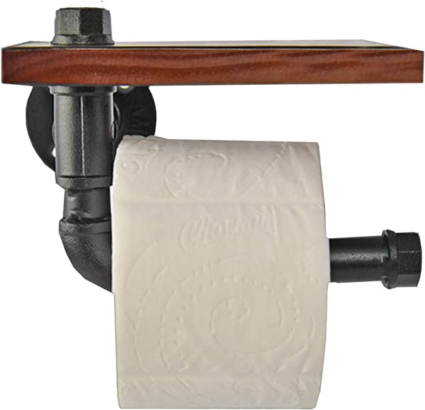 Home X Industrial Iron Pipe Toilet Paper Roll Holder With Floating Wood Shelf Organizer Farmhouse Or Boho Bathroom Decor
