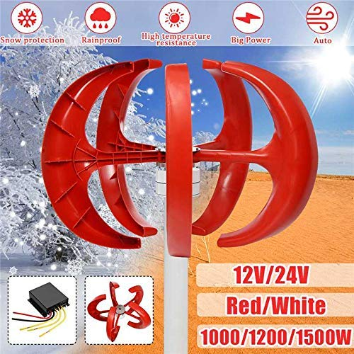 KTZAJO 1000 W Windturbinen-Generator, Laterne mit 5 Flügeln, Motor-Kit 12/24 V vertikale Achse für Zuhause Hybrid Streetlight + Controller (Farbe: Rot, Größe: 1200 W)