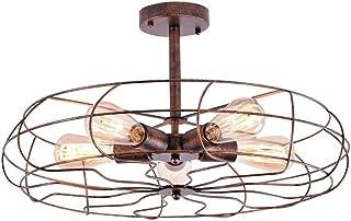 NIUYAO Lámpara de Techo Forma Ventilador Metal Cage Iluminación Ciling Light Industrial Retro 5 Luz