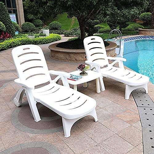 XUEQAN Sillas de jardín reclinables, tumbonas de plástico, respaldo ajustable, sillas plegables para interiores y exteriores, jardín, playa, patio, blanco (2 sillas y 1 mesa)