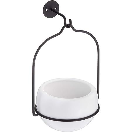 AmazonBasics Hanging Planter, Round - White/Black