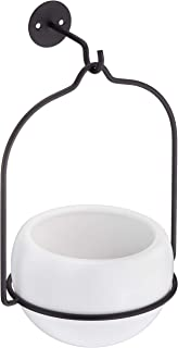 AmazonBasics Hanging Planter, Round - White/Black