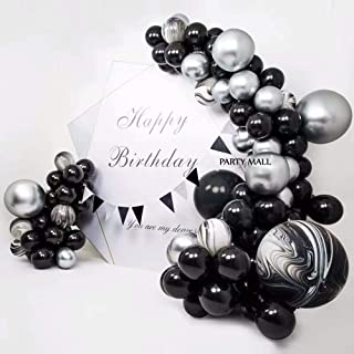 Captank Balloon Garland Arch Kit Black and Silver Balloons Black Agate Marble Balloons Decorations for Parties Wedding Baby Shower Graduation | Includes Glue Dots Balloons StripCurling Ribbon
