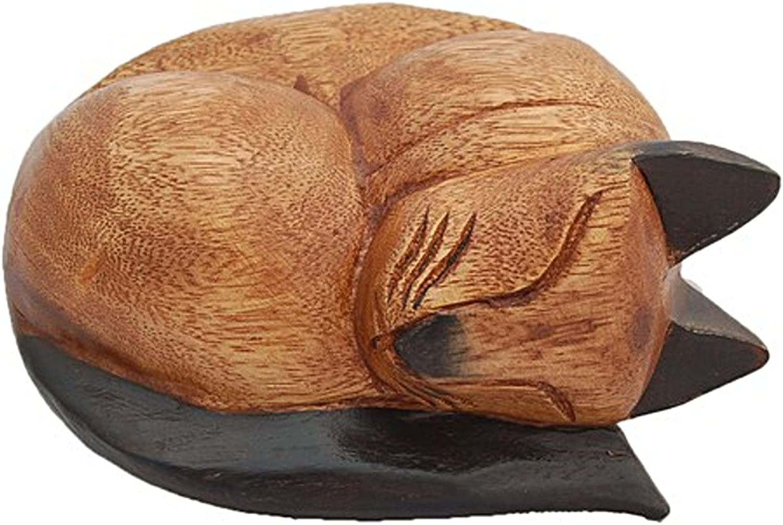 Rainbowbridge Wooden Sleeping Cat Ashes Casket Dark Tips