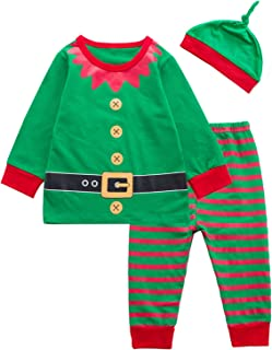 3PCS Baby Boys Girls Christmas Santa Claus Costume Pajama Outfit Clothes Set