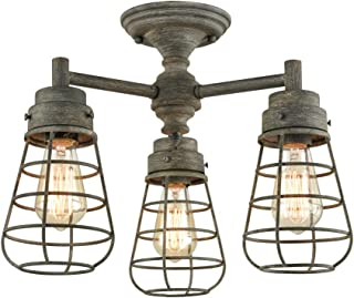 Rustic Semi-Flush Mount Ceiling Light Farmhouse 3-Light Metal Cage Ceiling Light Fixture