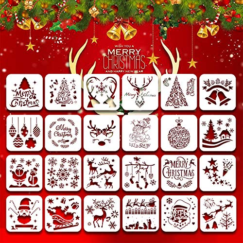 24Pack Christmas Stencils Templates, 6inch Reusable Plastic Craft Drawing Painting Template, Xmas Stencils for Greeting Cards, Albums,Scrapbook, Notebook, Journal, Wall Art Wood, Face Cookie Decor