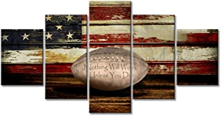 Vintage Football Canvas Wall Art US USA American Flag Prints Rustic Sports Artwork Wall Decor Home Picture for Bedroom Living Room Thin Red Line Paintings Posters Framed Ready to Hang (60