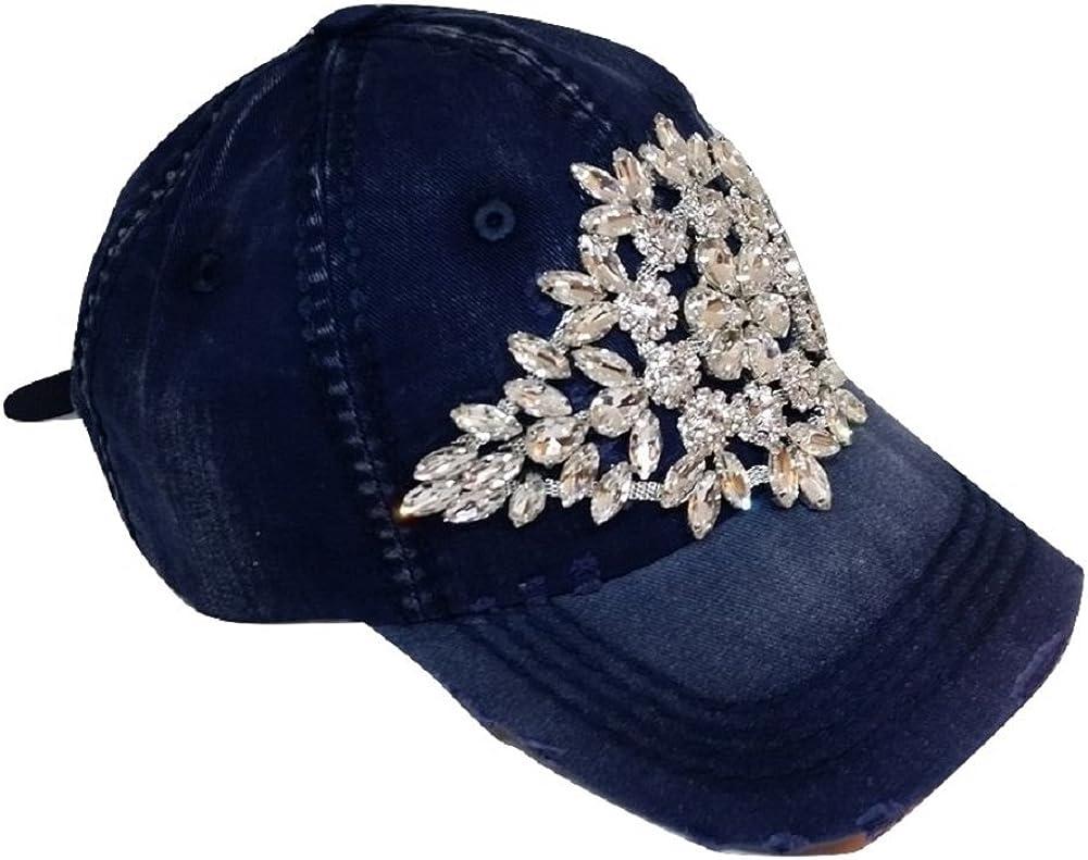 Olive & Pique Women's Large Horizontal Crystal Flower Distressed Baseball Cap