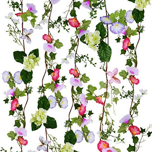 Valery Madelyn Frühlingsdeko 5er Set 1.83M Künstliche Blumengirlande mit Trichterwinde Girlande Simulation Hängende Gefälschte Reben für Zuhause Garten Dekoration Zum Muttertag MEHRWEGVERPACKUNG