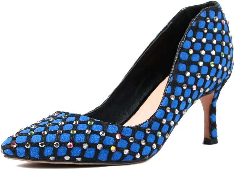 X-creative Fashion High Heel Stilettos Pointed Toe Pump Kitten Heels Rhinestone Polka Dots Slip on shoes for Party