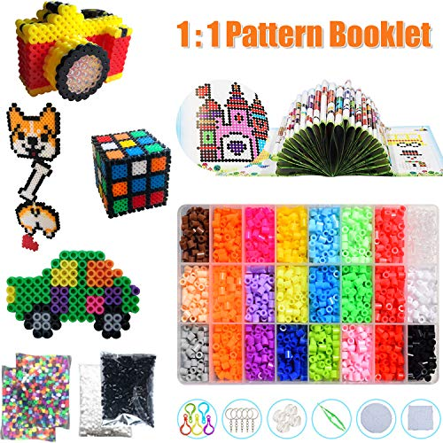 Fuse Beads Craft Kit, 24 Colors 5500 Pieces 5mm Bead, 60 Patterns Colored Beads Arts and Crafts Pearler Set for Kids with Pegboards, Pattern Cards, Tweezers Ironing Paper and Other Accessories