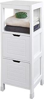 SoBuy szafka łazienkowa szafki łazienkowe z 2 szufladami Biały, FRG127-W